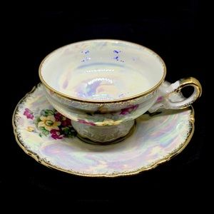 Vintage Iridescent China Cup and Saucer Set